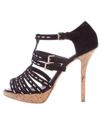 f799d80343f Lyst - Dior Suede Embellished Platform Sandals Brown in Metallic