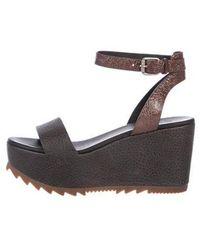 Brunello Cucinelli - Suede Monili-trimmed Wedge Sandals - Lyst