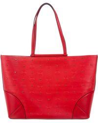 MCM - Medium Claudia Stud Shopper Tote Red - Lyst