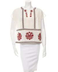 SUNO - Floral Embroidered Short Sleeve Top W/ Tags Cream - Lyst