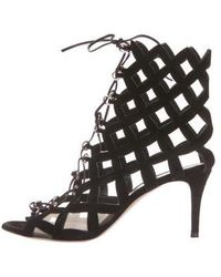 4a86c08919d6 Lyst - Gianvito Rossi Lace-up Cage Sandals Black in Metallic