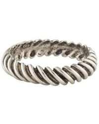 Giles & Brother - Ribbed Bangle Silver - Lyst