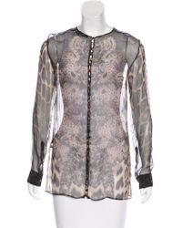 Roberto Cavalli - Printed Long Sleeve Blouse - Lyst