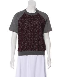 Carven - Lace-accented Short Sleeve Sweatshirt Grey - Lyst
