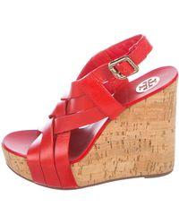 6272e81b4a35 Lyst - Tory Burch Dual-strap Wedge Sandals Brown in Brown