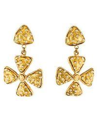 Chanel - Crystal Maltese Cross Drop Earrings Gold - Lyst