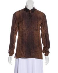 d8a94ab4a5cc0 Lyst - Etro Brown Multi Silk Printed Long Sleeve Collared Button Up ...