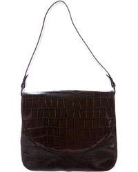 Robert Clergerie - Embossed Leather Shoulder Bag Silver - Lyst