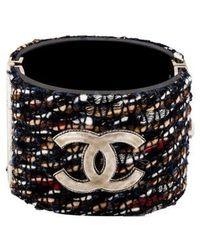 Chanel - Cc Tweed Cuff Silver - Lyst