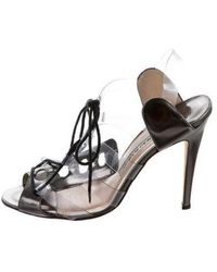 aac947d9e88a36 Lyst - Manolo Blahnik Embellished Ankle-strap Sandals in Black