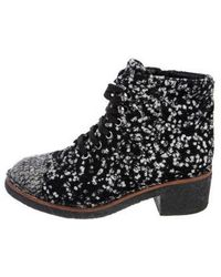 Chanel - Cc Tweed Ankle Boots - Lyst