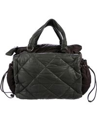 Moncler - Quilted Leather Puffer Satchel Olive - Lyst
