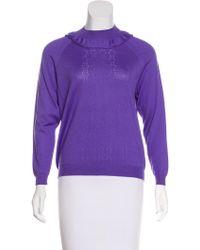 Miu Miu - Miu Ruffle-trimmed Wool Sweater W/ Tags Violet - Lyst