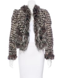 Marc Jacobs - Fox-trimmed Kalgan Fur Jacket Beige - Lyst