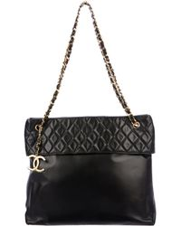 Chanel - Vintage Lambskin Cc Tote Black - Lyst