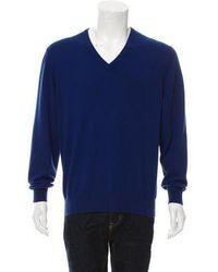 Loro Piana - Baby Cashmere V-neck Sweater Navy - Lyst