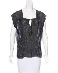 Gryphon - Embellished Silk Top - Lyst