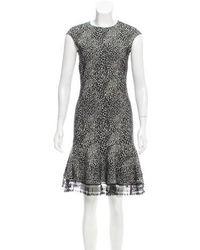 Behnaz Sarafpour - Patterned Wool-blend Dress Black - Lyst