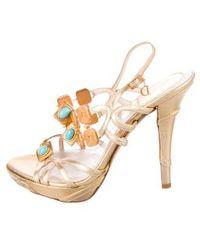 6374f431845 Lyst - Dior Wedge Sandals Silver in Metallic
