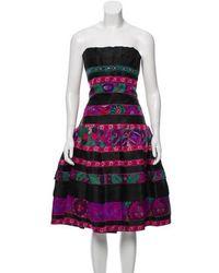 Roberto Cavalli - Silk Strapless Printed Mini Dress W/ Tags - Lyst