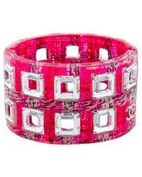 Chanel - Tweed, Resin & Crystal Cutout Bracelet Silver - Lyst