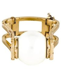 Chanel - Faux Pearl Bangle Gold - Lyst