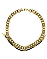 Fallon - Leather Lab Necklace Gold - Lyst
