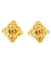 Chanel - Infinity Links Logo Clip-on Earring Gold - Lyst