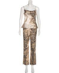 Roberto Cavalli - Printed Pant Suit Set Gold - Lyst