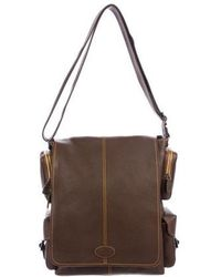 Tod's - Contrast-stitched Leather Messenger Bag Brown - Lyst