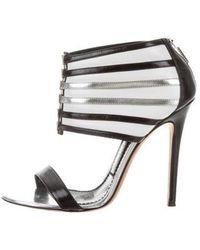 Prabal Gurung - Striped Leather Sandals Black - Lyst