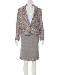 Chanel - Tweed Skirt Suit Grey - Lyst