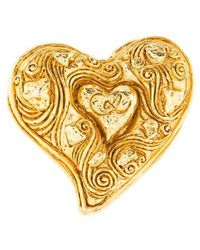 Christian Lacroix - Heart Brooch Gold - Lyst
