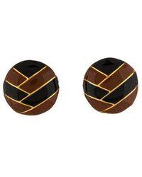 Lanvin - Round Enamel Clip-on Earrings Gold - Lyst