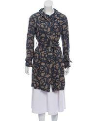 Hache - Printed Linen Coat Beige - Lyst