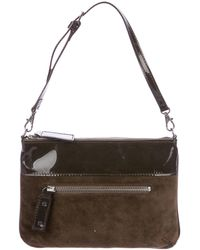 Robert Clergerie - Paris Patent Leather & Suede Handle Bag Olive - Lyst
