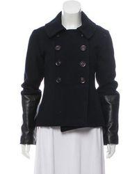Ulla Johnson - Wool Short Coat Navy - Lyst