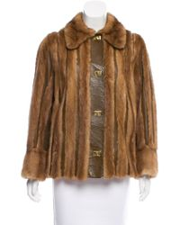 Emilio Pucci - Mink-trimmed Leather Jacket Brown - Lyst