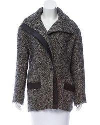 IRO - Chayton Leather-trimmed Coat Grey - Lyst