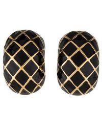 Judith Leiber - Enamel Clip-on Earrings Gold - Lyst