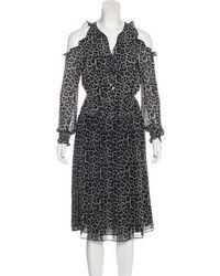 MICHAEL Michael Kors - Michael Kors Leopard Print Midi Dress Grey - Lyst