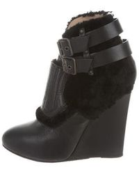 Proenza Schouler - Shearling-accented Wedge Booties - Lyst