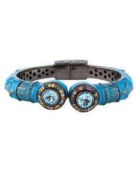 M.c.l  Matthew Campbell Laurenza - Blue Topaz & Multicolored Sapphire Enamel Cuff Silver - Lyst
