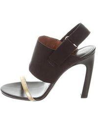 7825a08d103 Lyst - Dries Van Noten Woven Leather Slide Sandals Black in Metallic