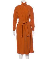 Rodebjer - Crepe Long Coat W/ Tags Orange - Lyst