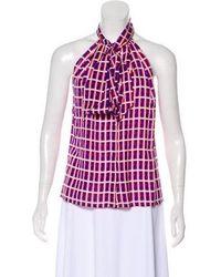 Issa - Printed Silk Top - Lyst