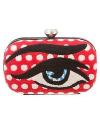 Sarah's Bag - Embroidered Eye Clutch Red - Lyst