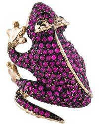 Roberto Cavalli - Crystal Gecko Ring Brass - Lyst