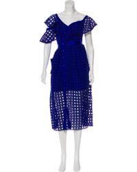 57f2f1a623e46 Lyst - Self-Portrait Star Guipure Lace Dress W/ Tags Navy in Blue