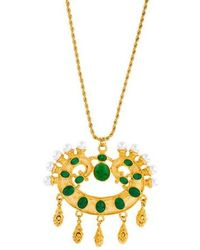 Kenneth Jay Lane - Resin & Faux Pearl Pendant Necklace Gold - Lyst